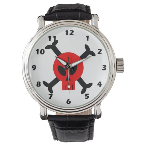 Red Skull And Crossbones Watch