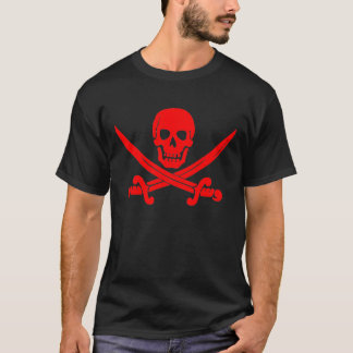 Red Skull and Crossed Swords Pirate Logo T-shirt