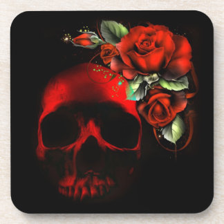 Red skull and roses drink coaster
