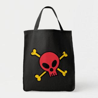 Red Skull and Yellow Bones Tote Bag