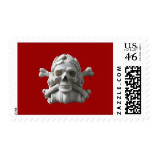 Red Skull & Bones Pirate Skeleton Halloween Stamps