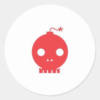 red skull classic round sticker