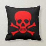 Red Skull & Crossbones Pillow