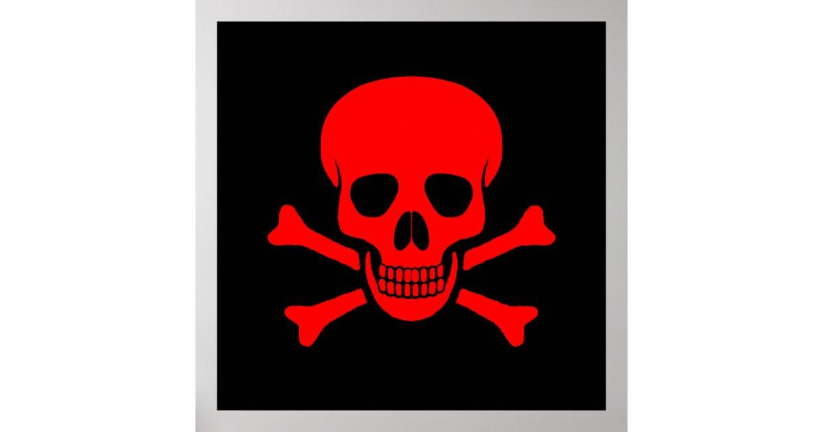 Red Skull Amp Crossbones Poster Zazzle