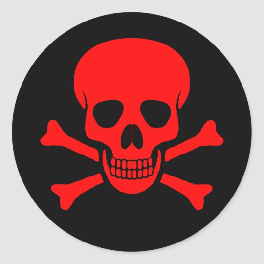 Red skull crossbones sticker