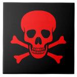 Red Skull & Crossbones Tile