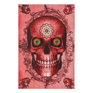 Red Skull Faux Canvas Print