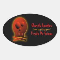 Red Skull, halloween baking labels Sticker
