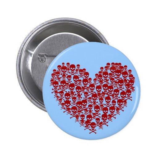 Red Skull Heart Pin