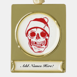 Red Skull In Santa Hat Gold Plated Banner Ornament