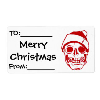Red Skull In Santa Hat Label