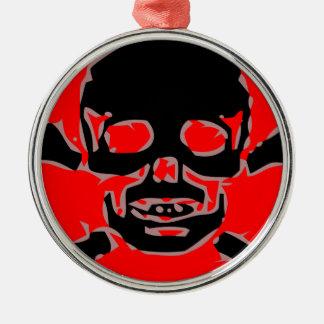 Red skull metal ornament