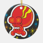 Red Skull Double-Sided Ceramic Round Christmas Ornament