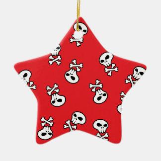 red skull tile ceramic ornament