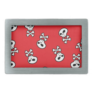 red skull tile rectangular belt buckle