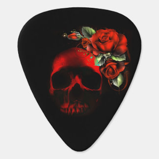 Red skull with red roses guitar pick