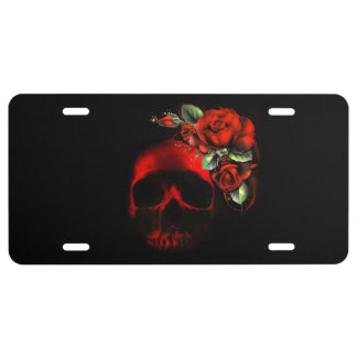 Red skull with red roses license plate