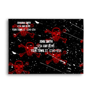 Red Skulls Goth Halloween Envelope
