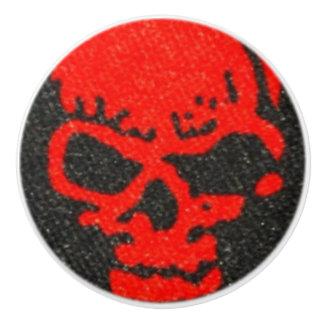 Red Skulls on Black Ceramic Knob