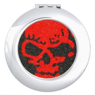 Red Skulls on Black Mirror For Makeup