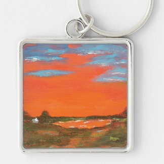 Red Sky At Night Abstract Painting Key Chain Large