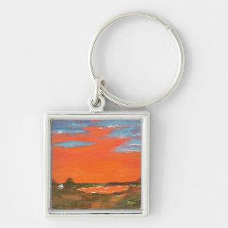 Red Sky At Night Abstract Painting Key Chain Small
