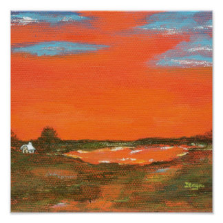 Red Sky At Night From Original Painting Poster