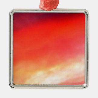 Red Sky At Night Silver-Colored Square Decoration