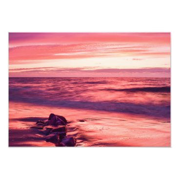 Beach Themed Red sky at night photo print