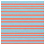 [ Thumbnail: Red & Sky Blue Colored Lined/Striped Pattern Fabric ]