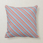 [ Thumbnail: Red & Sky Blue Colored Lined/Striped Pattern Throw Pillow ]