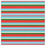 [ Thumbnail: Red, Sky Blue, Dark Turquoise, White & Dark Green Fabric ]