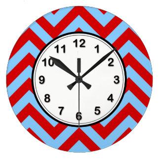 Red, Sky Blue Large Chevron ZigZag Pattern Wall Clock