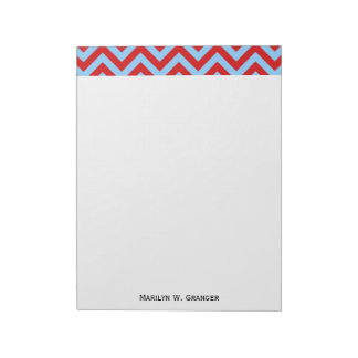 Red, Sky Blue Large Chevron ZigZag Pattern Notepads