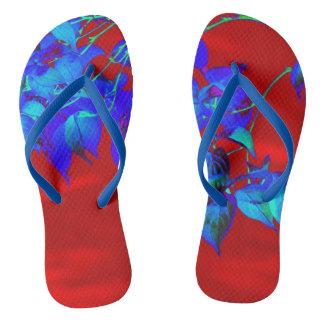 Red Sky Blue Leaves Flip Flops