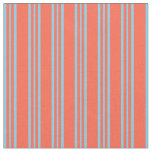 [ Thumbnail: Red & Sky Blue Lines/Stripes Pattern Fabric ]