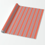 [ Thumbnail: Red & Sky Blue Lines/Stripes Pattern Wrapping Paper ]