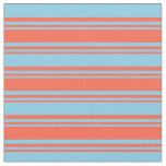 [ Thumbnail: Red & Sky Blue Pattern Fabric ]