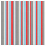 [ Thumbnail: Red, Sky Blue, White & Grey Colored Lines Fabric ]