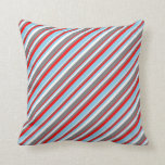 [ Thumbnail: Red, Sky Blue, White & Grey Colored Lines Pillow ]