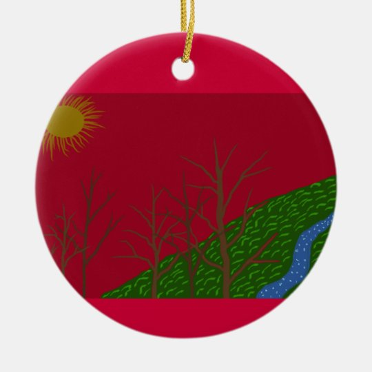 Red Sky Ceramic Ornament