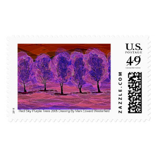 Red Sky Purple Trees 2005 Drawing ... By Postage Stamp