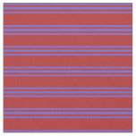 [ Thumbnail: Red & Slate Blue Colored Lines Fabric ]