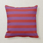 [ Thumbnail: Red & Slate Blue Colored Lines Throw Pillow ]