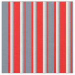[ Thumbnail: Red, Slate Gray, Grey & Light Cyan Colored Lines Fabric ]