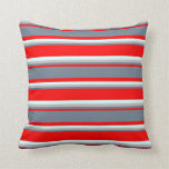[ Thumbnail: Red, Slate Gray, Grey & Light Cyan Colored Lines Throw Pillow ]