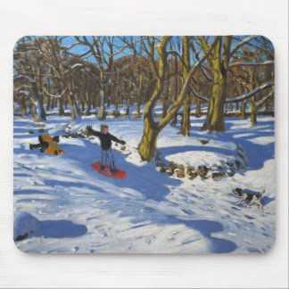 Red sledge Lomberdale Hall Derbyshire 2014 Mouse Pad
