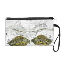 Red slider turtles wristlet purse