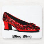 red slippers, Bling Bling Mouse Pad