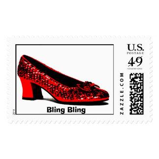 red slippers, Bling Bling Stamp